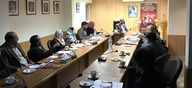 "TOBACCO SMOKE FREE GENERATION"" A STRATEGIC MEETING WITH ADMINISTRATION OF FEDERAL DIRECTORATE OF EDUCATION (FDE) ISLAMABAD"