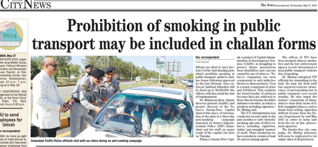 Press clipping, Road awareness campaign on tobacco control